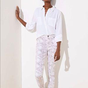 Loft White Snake Print Modern Skinny Jeans Size 4